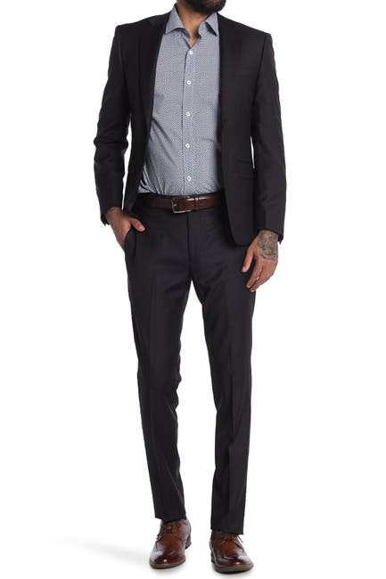 Image of Calvin Klein Charcoal Two-Button Notched Lapel Suit