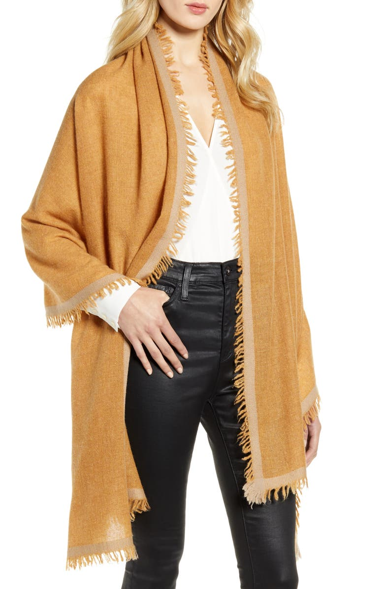NORDSTROM Border Cashmere Wrap, Main, color, TAN CINNAMON COMBO