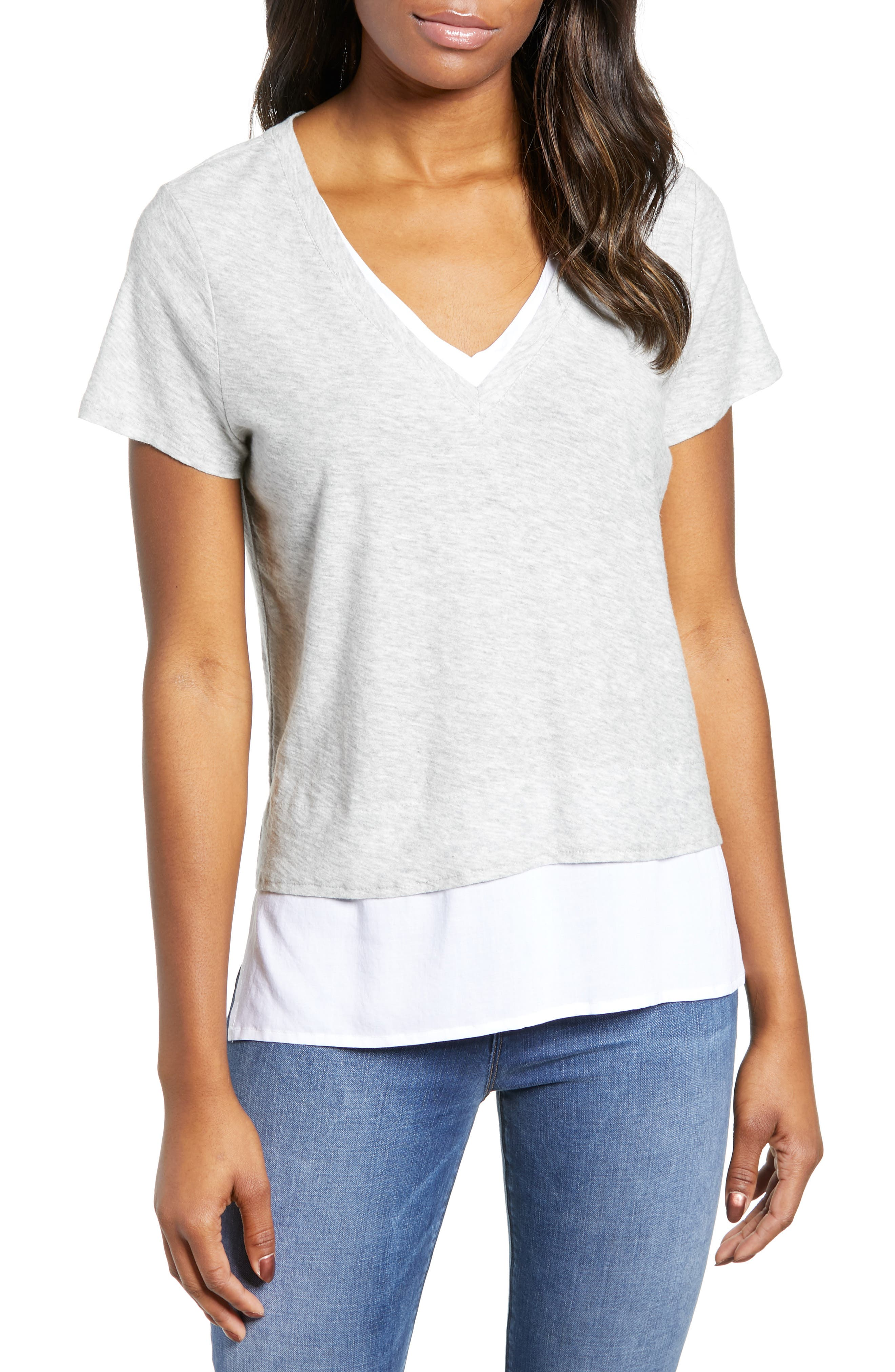 bb959f7e Petite Vince Camuto Layered Look V-Neck Tee, Grey