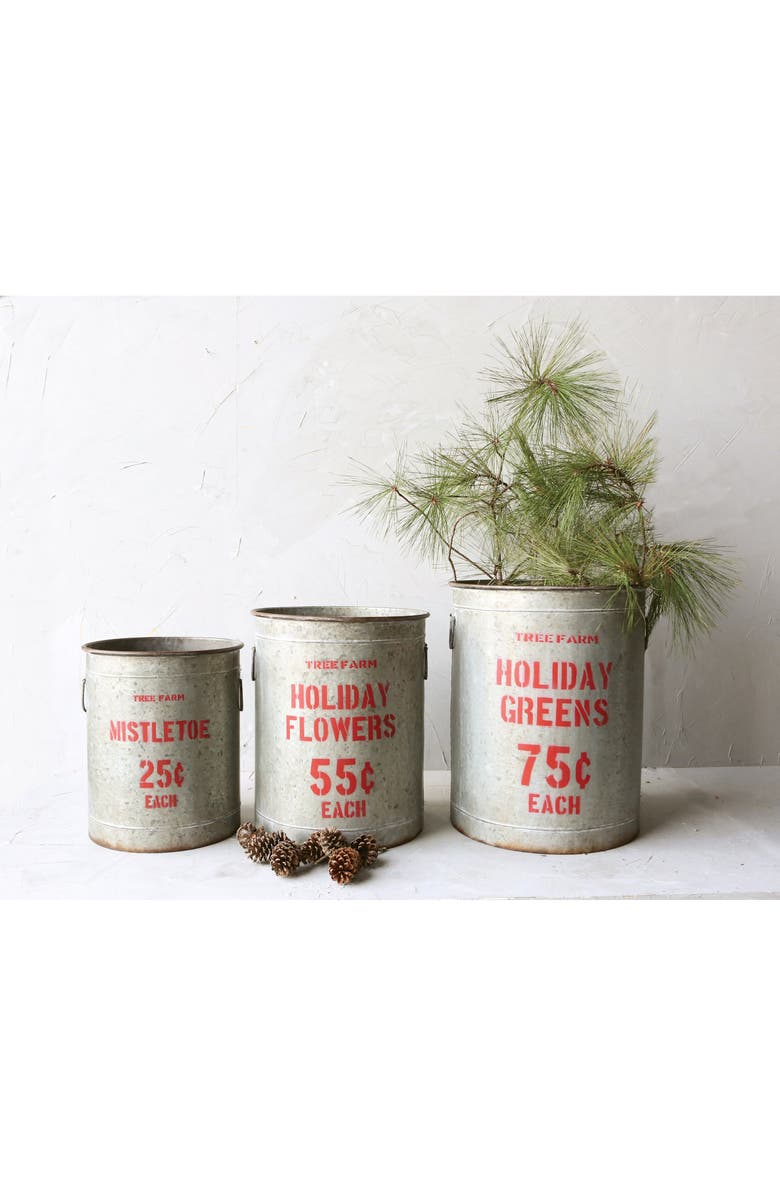 CREATIVE CO-OP Set of 3 Holiday Buckets, Main, color, SILVER