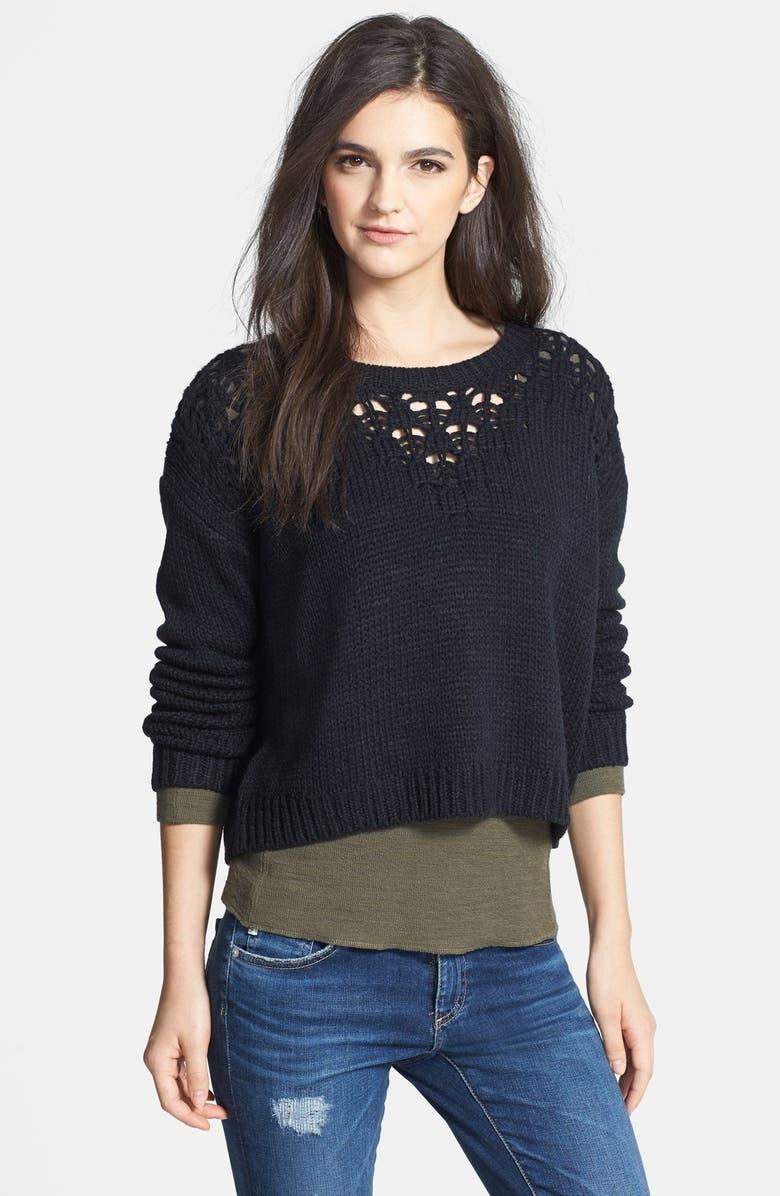HINGE Pointelle Yoke Crop Sweater, Main, color, 001