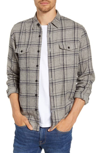Image of FRAME Classic Fit Plaid Button-Up Linen Blend Flannel Shirt