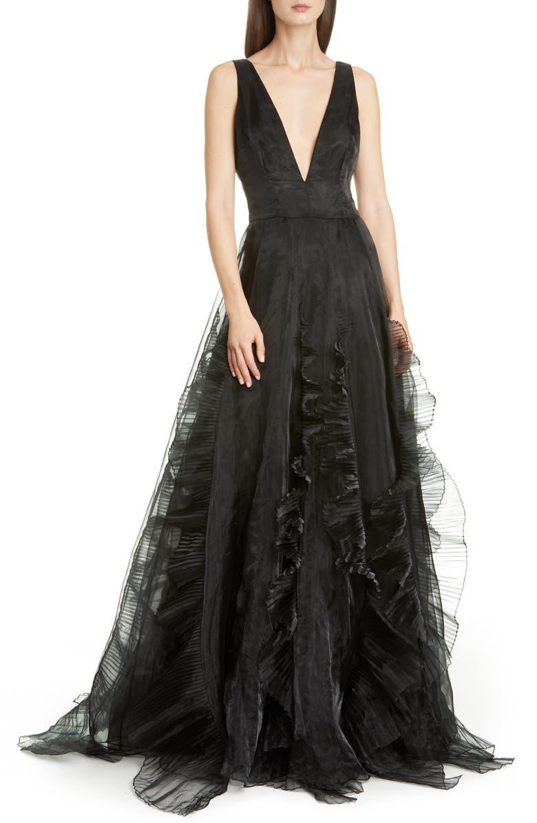 FLOR ET. AL Jane Ruffle Organza Ballgown, Main, color, BLACK
