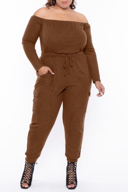Image of Curvy Sense Off-the-Shoulder Lounge Jumpsuit
