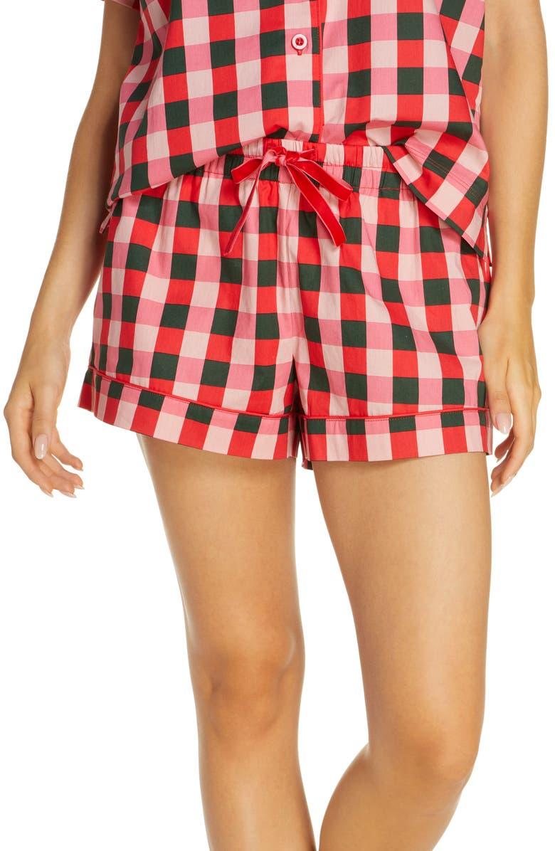 BAN.DO Buffalo Check Cotton Poplin Pajama Shorts, Main, color, PINK