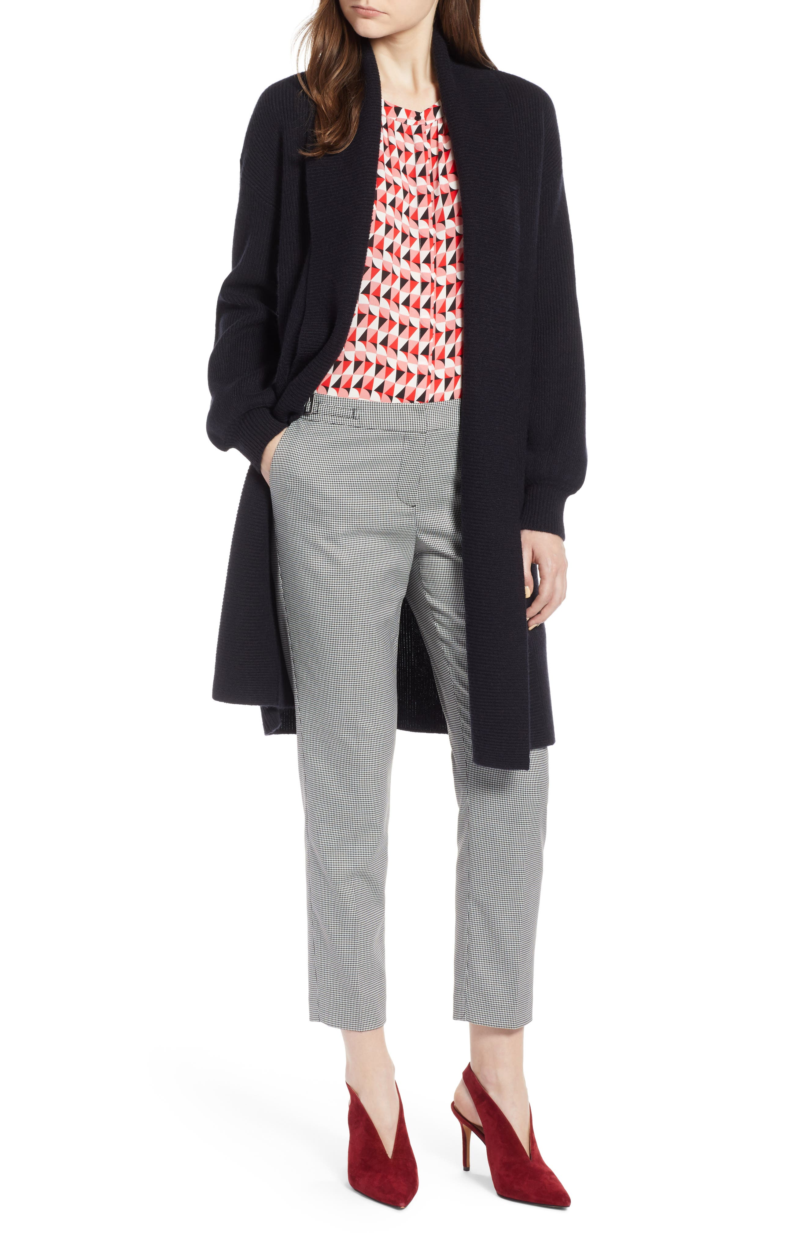 ,                             Blouson Sleeve Long Cashmere Cardigan,                             Main thumbnail 9, color,                             002