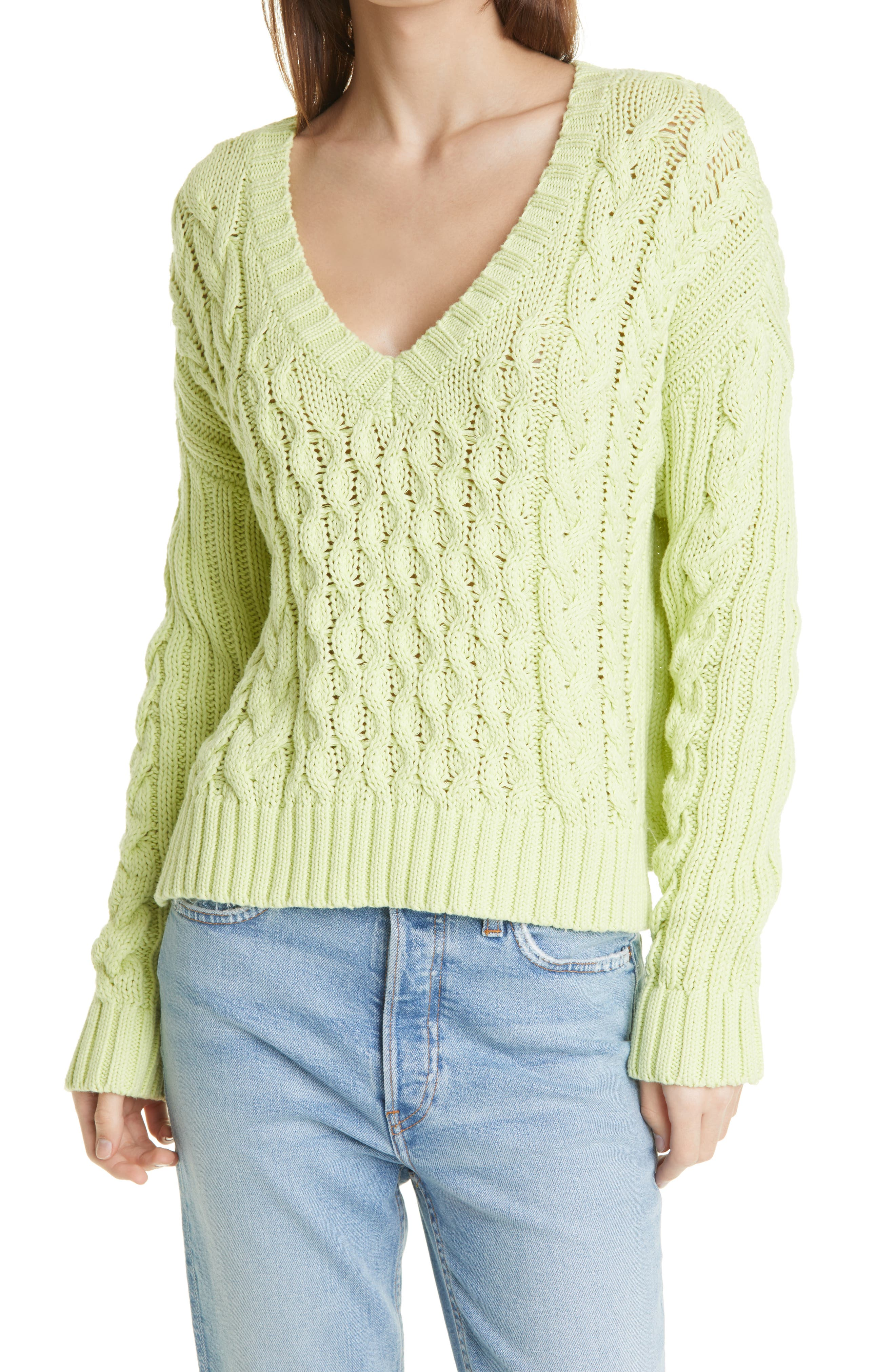 Leah V-Neck Cable Knit Sweater