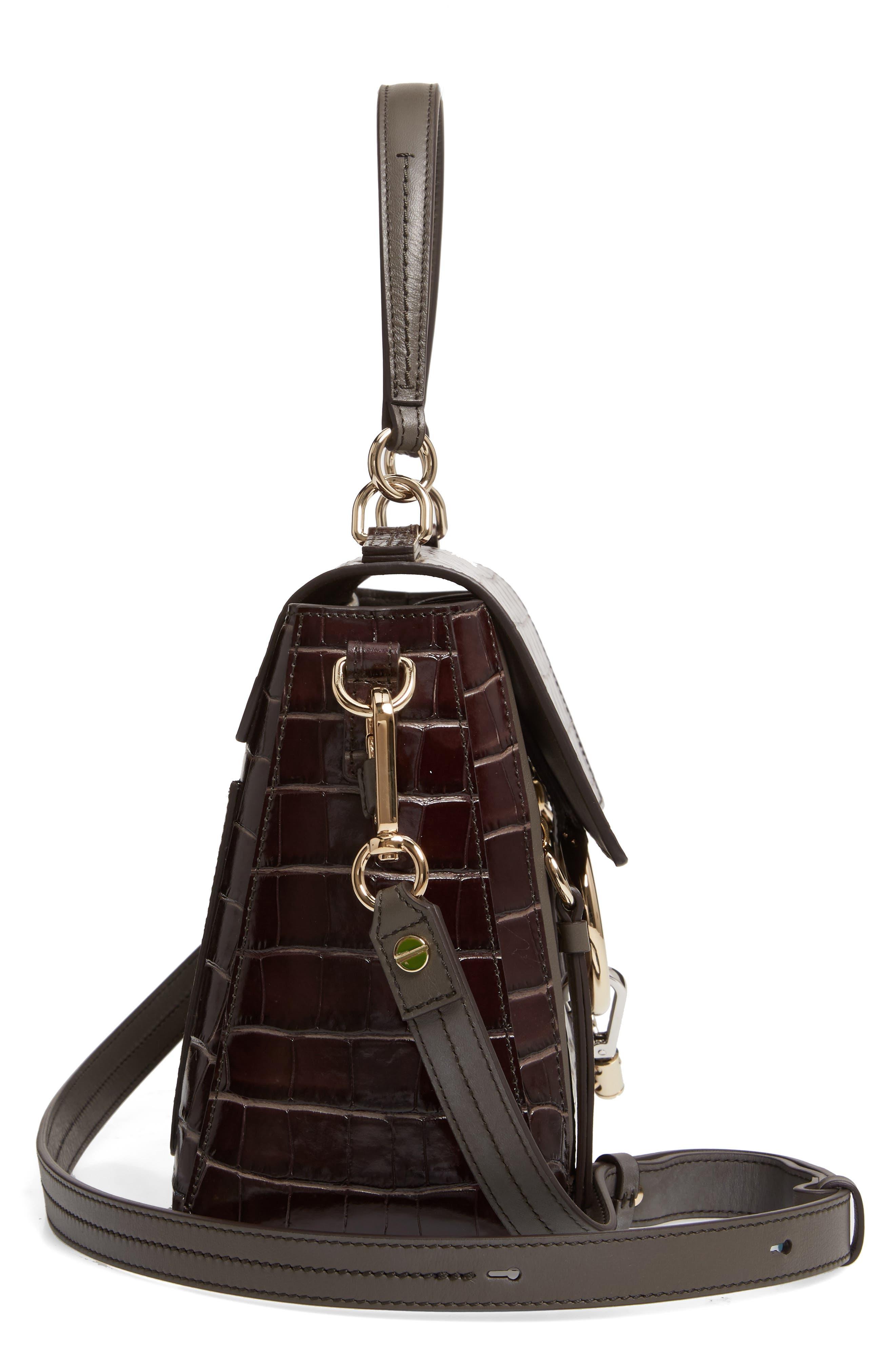 ,                             Medium Faye Day Croc Embossed Leather Shoulder Bag,                             Alternate thumbnail 5, color,                             PROFOUND BROWN