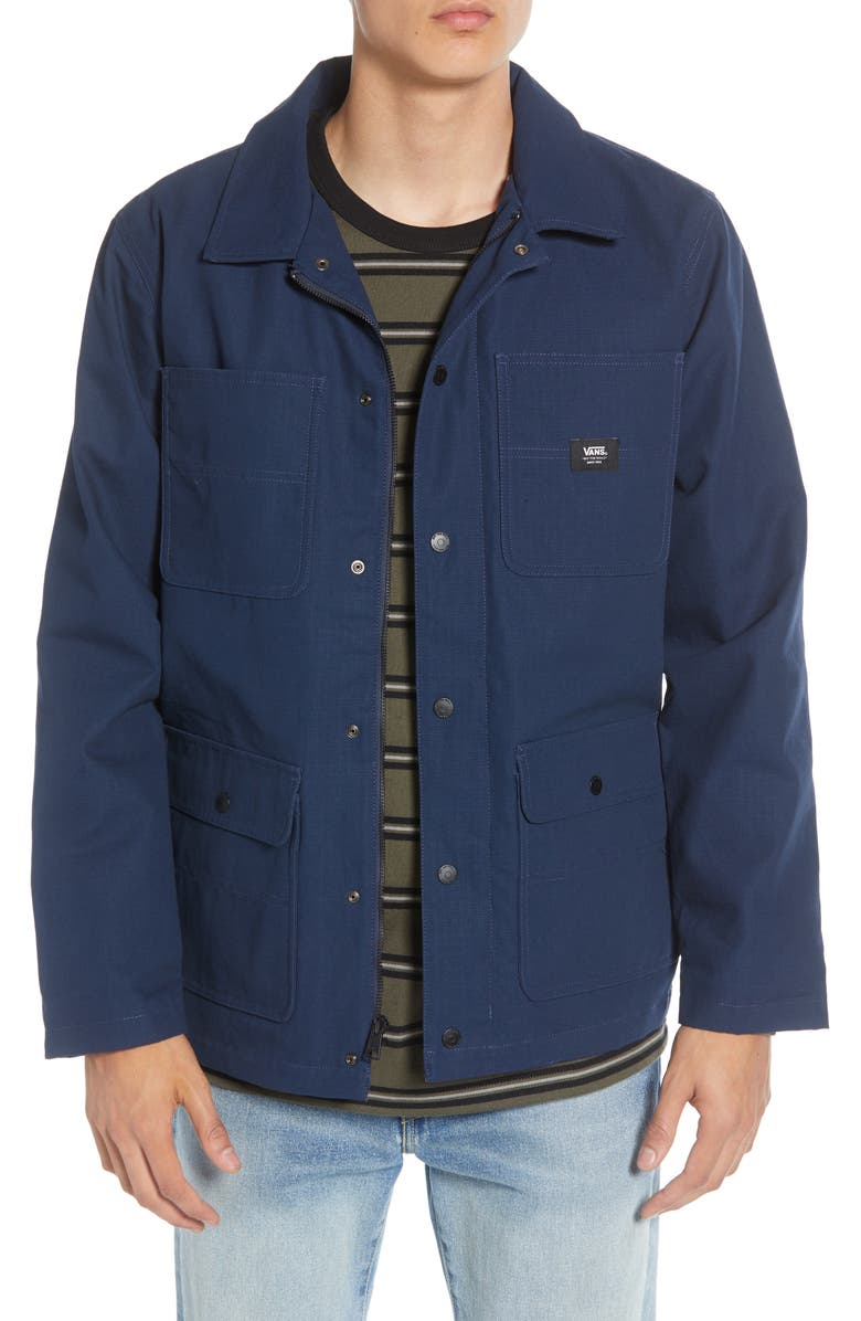 VANS Drill Water Repellent Hooded Chore Coat, Main, color, 420