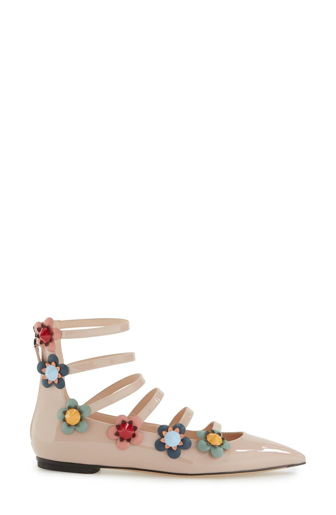 ,                             'Flowerland' Strappy Flat,                             Alternate thumbnail 8, color,                             251