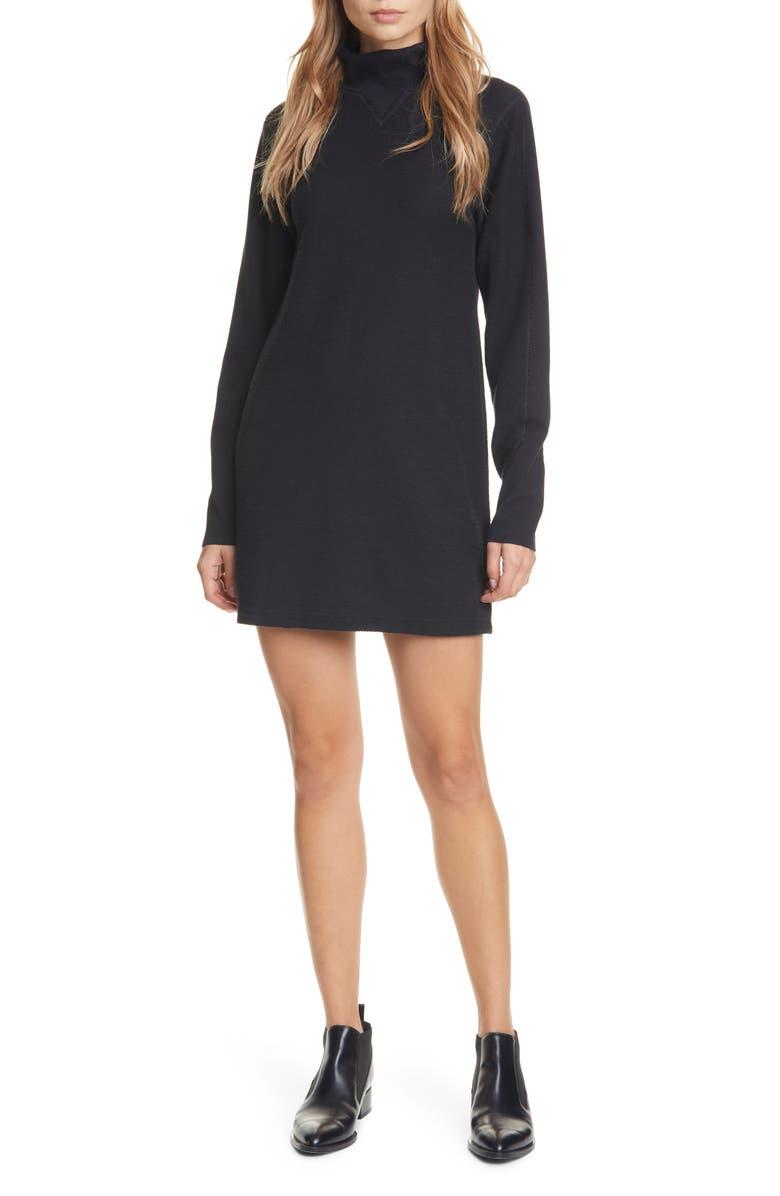 RAG & BONE Utility Turtleneck Cotton Dress, Main, color, 001