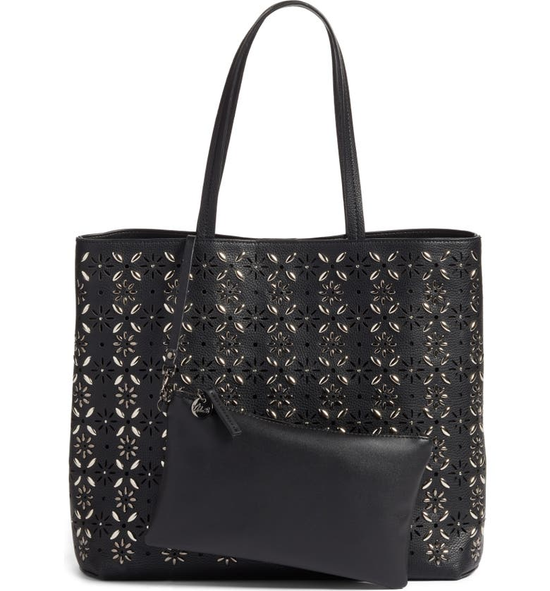 CHELSEA28 Kaylee Embellished Faux Leather Tote, Main, color, 001