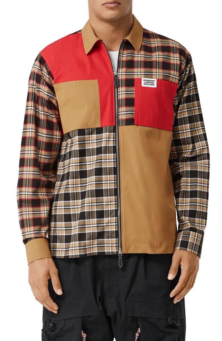 BURBERRY Halkin Colorblock Zip Shirt Jacket, Main, color, BLACK PATTERN