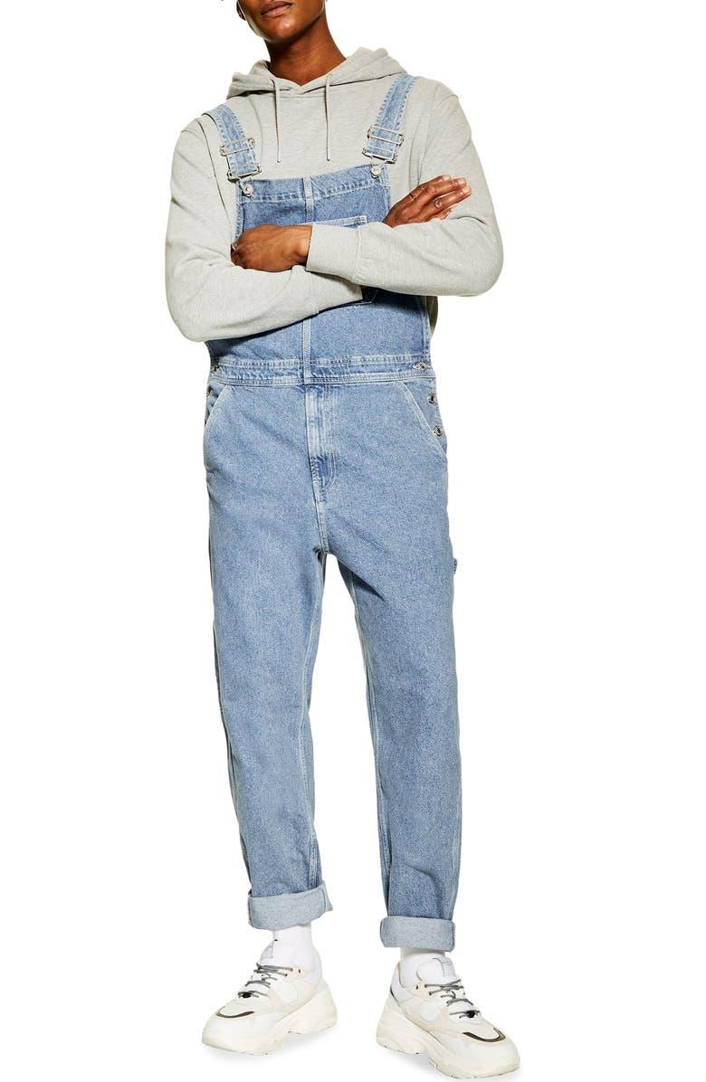TOPMAN Straight Leg Denim Overalls, Main, color, BLUE