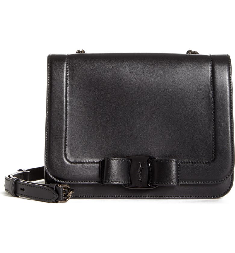 SALVATORE FERRAGAMO Small Vara Leather Shoulder Bag, Main, color, NERO