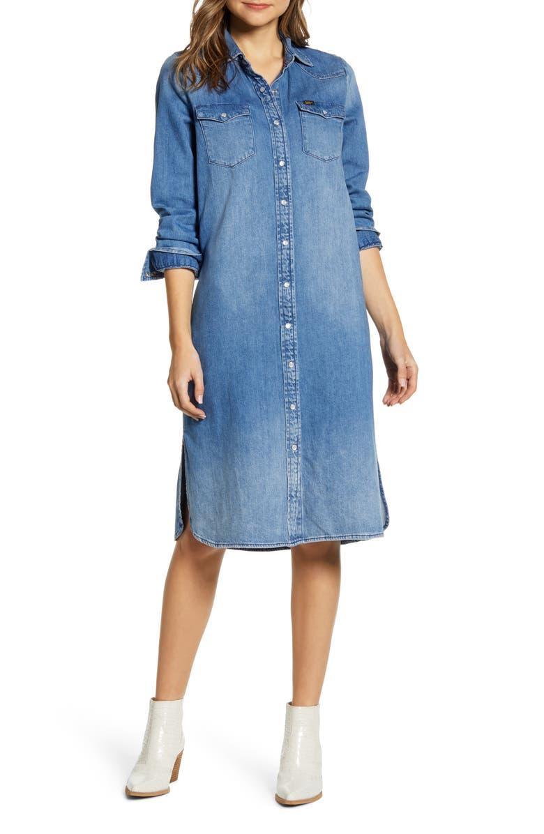 LEE Western Denim Midi Shirtdress, Main, color, FLINT HILL BLUE