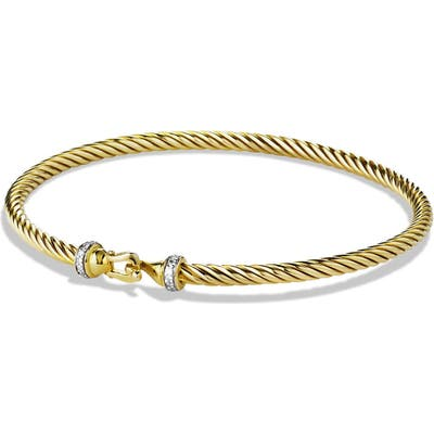 David Yurman Cable Collectibles Buckle Bracelet With Diamonds In 18K Gold, m