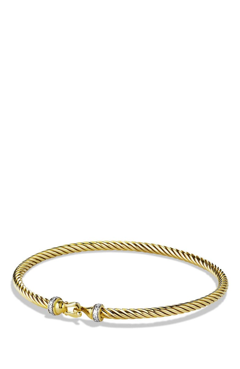 DAVID YURMAN Cable Collectibles Buckle Bracelet with Diamonds in 18K Gold, 3mm, Main, color, DIAMOND
