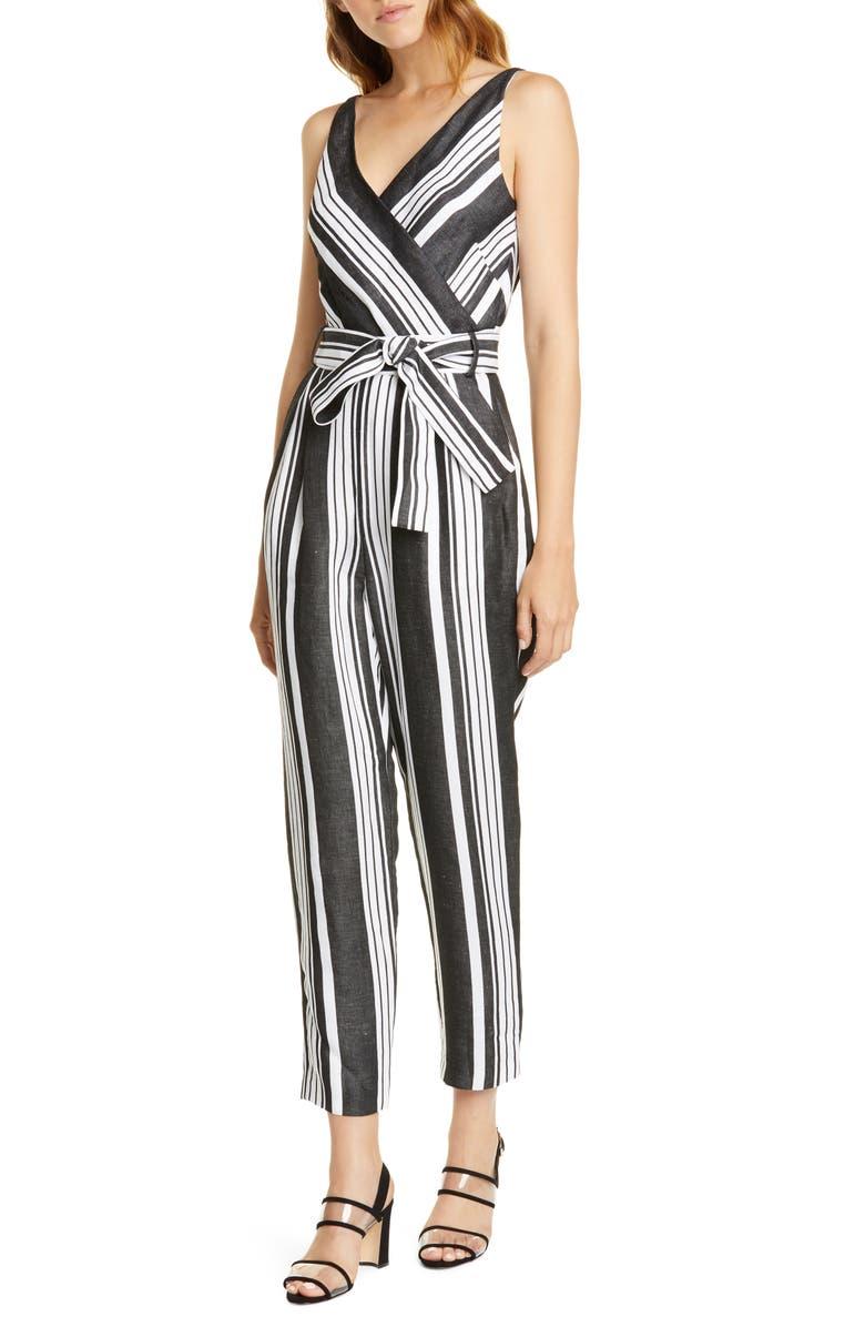 KAREN MILLEN Stripe Jumpsuit, Main, color, BLACK/ WHITE