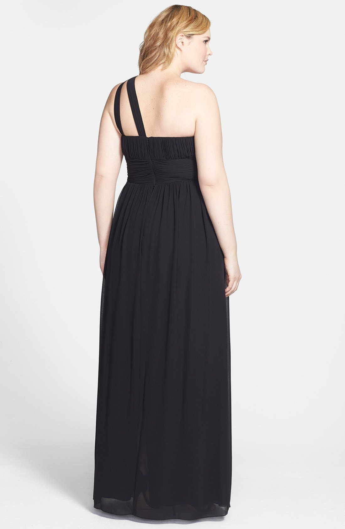 ,                             'Rachel' Ruched One-Shoulder Chiffon Gown,                             Alternate thumbnail 2, color,                             001
