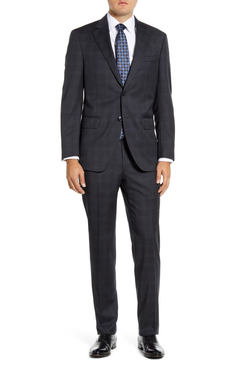 PETER MILLAR Flynn Classic Fit Plaid Wool Suit, Main, color, CHARCOAL