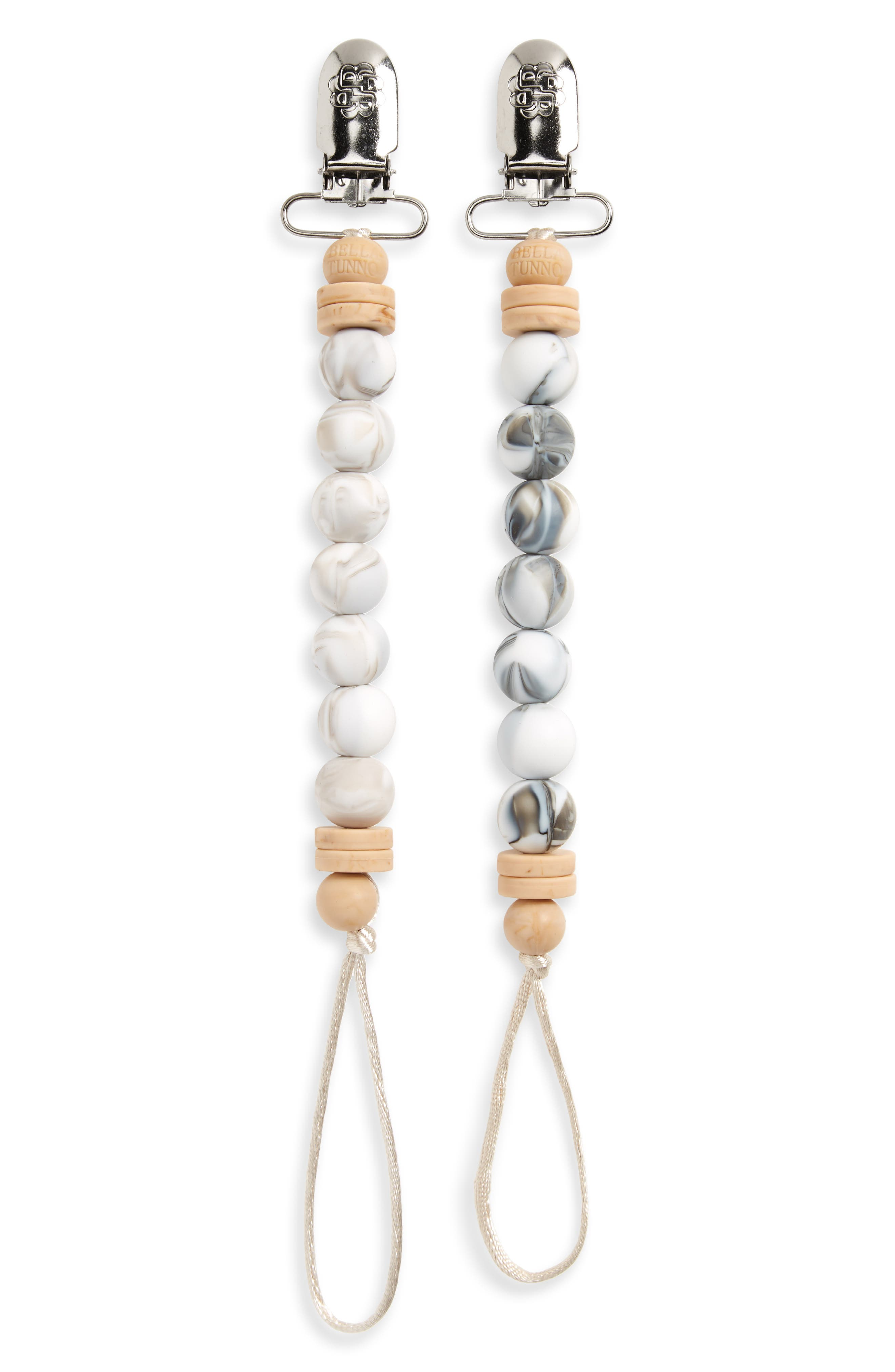 Set of 2 Pacifier Clips, Main, color, MARBLED NEUTRAL