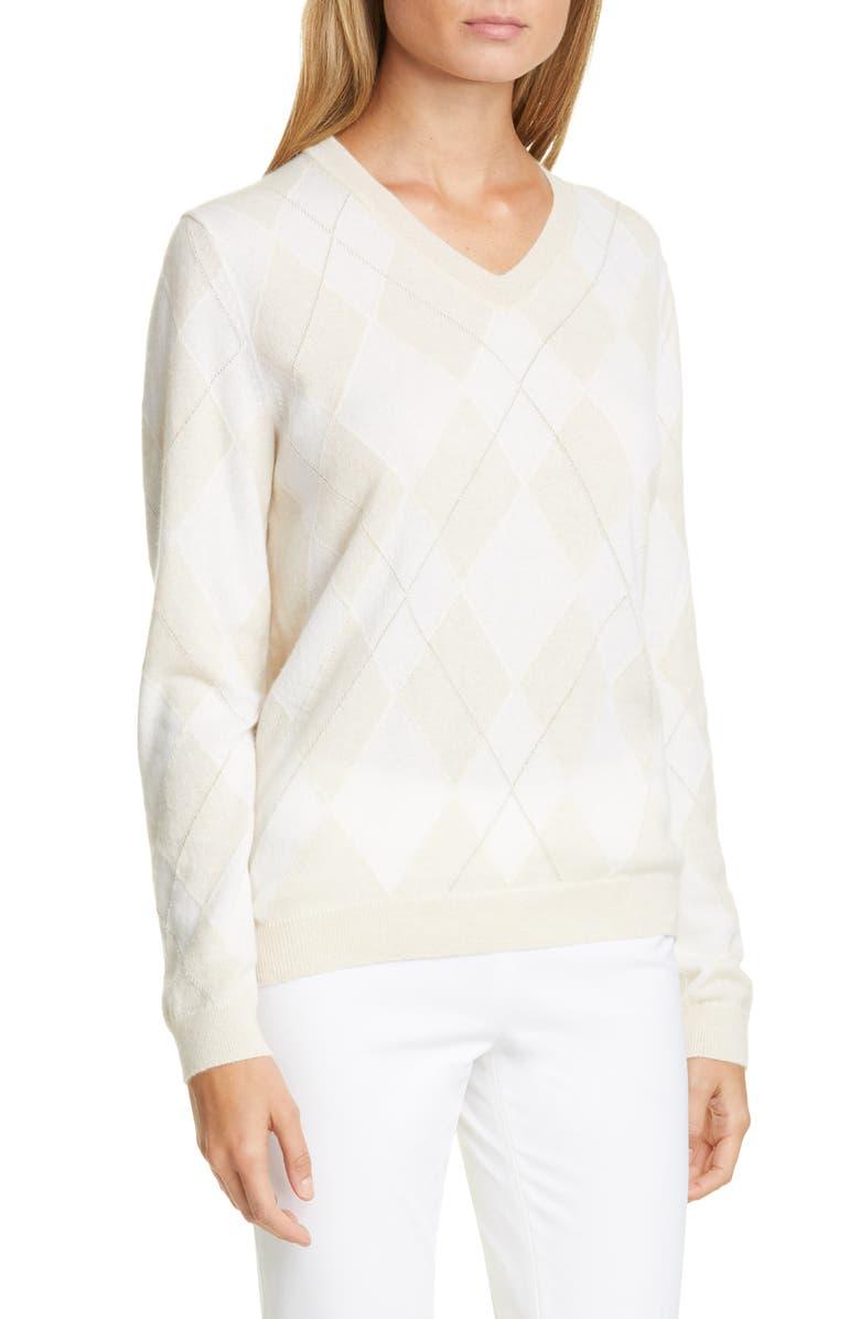 LAFAYETTE 148 NEW YORK Metallic Argyle Sweater, Main, color, 129