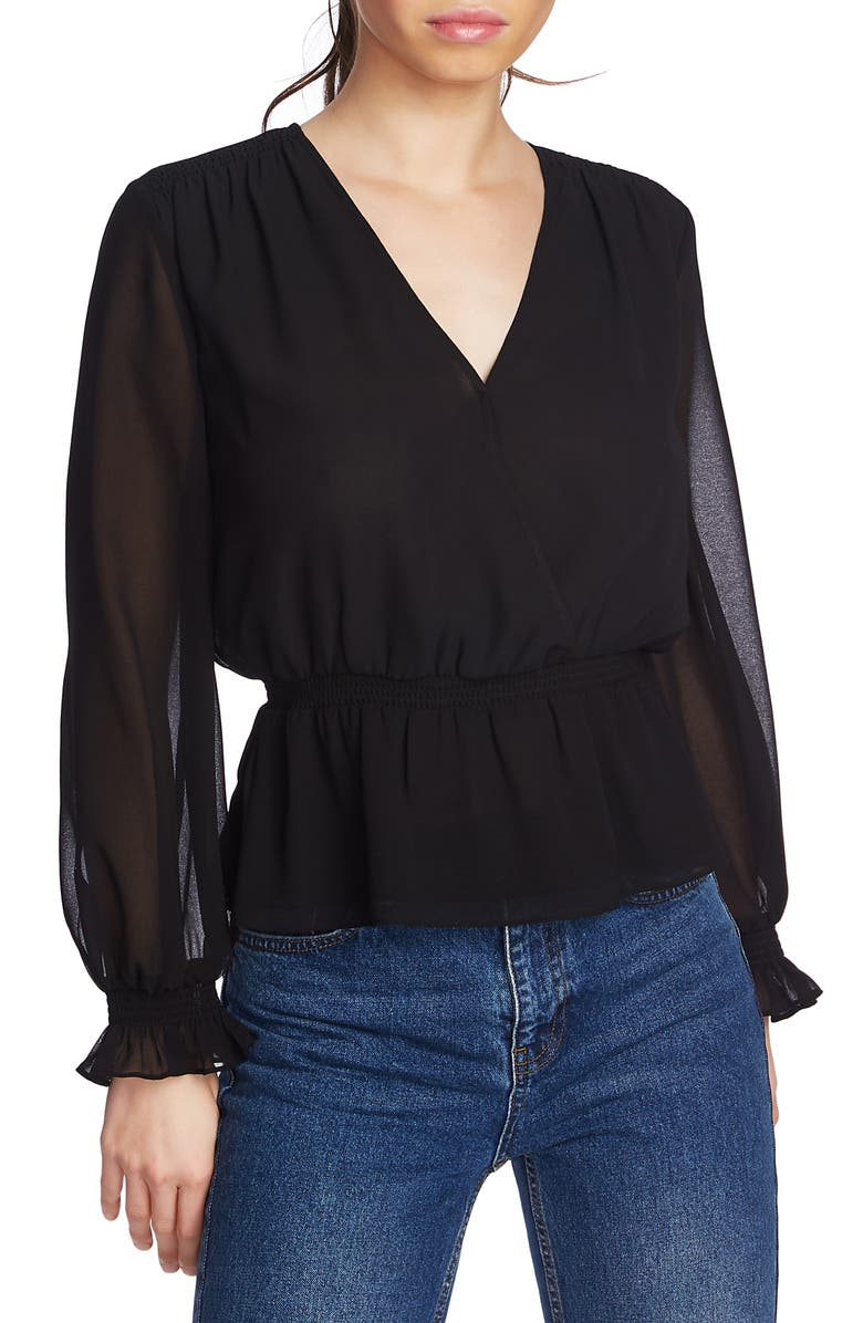 1.STATE Faux Wrap Peplum Blouse, Main, color, 006