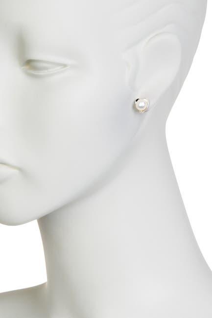 Image of Splendid Pearls Genuine Cultured Freshwater 6-6.5mm White Pearl Earrings
