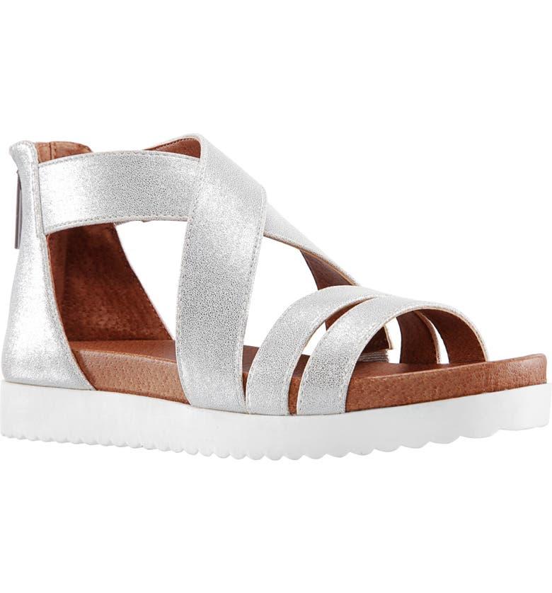 NINA Caldonia Glitter Sandal, Main, color, SILVER METALLIC