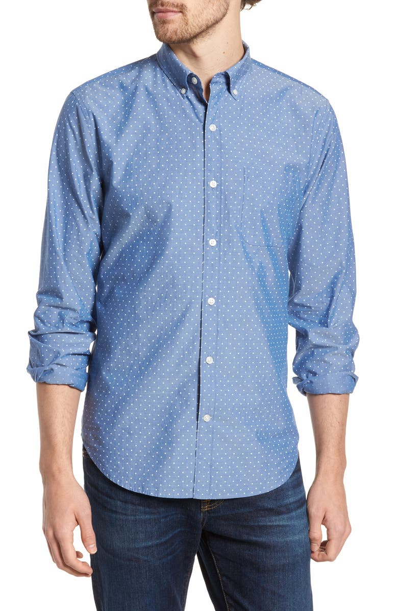 BONOBOS Summerweight Slim Fit Dot Shirt, Main, color, GALAXY BLUE