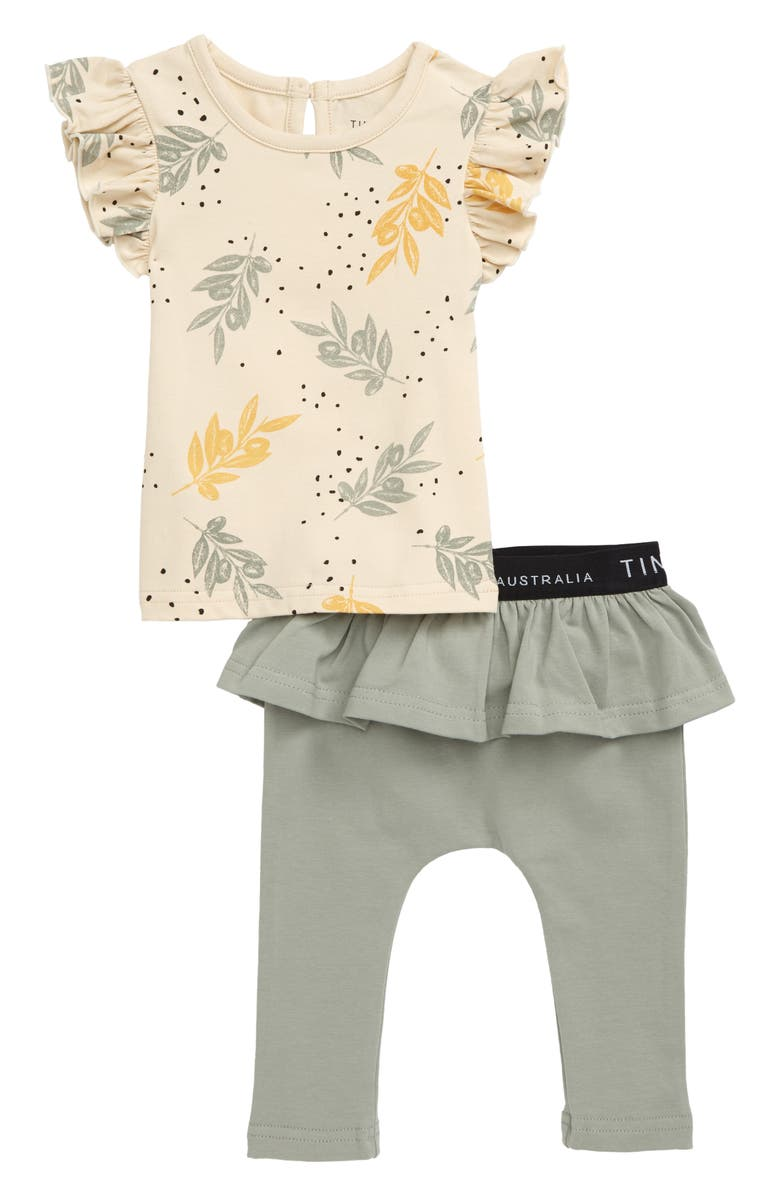 TINY TRIBE Leaves Frill Top & Leggings Set, Main, color, WHITE / OLIVE