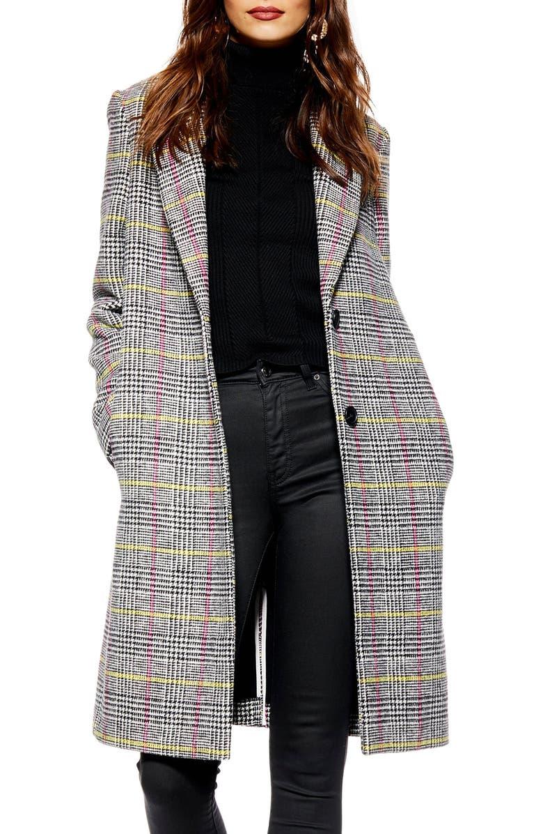 TOPSHOP Piper Check Jacket, Main, color, 002