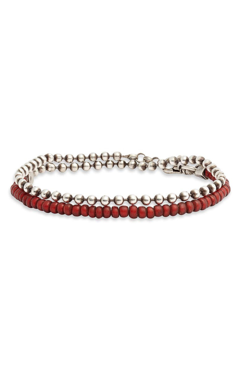 TITLE OF WORK Venetian Glass Bead Bracelet, Main, color, SILVER/ RED