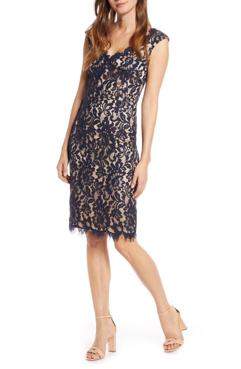 ELIZA J V-Neck Lace Sheath Dress, Main, color, NAVY
