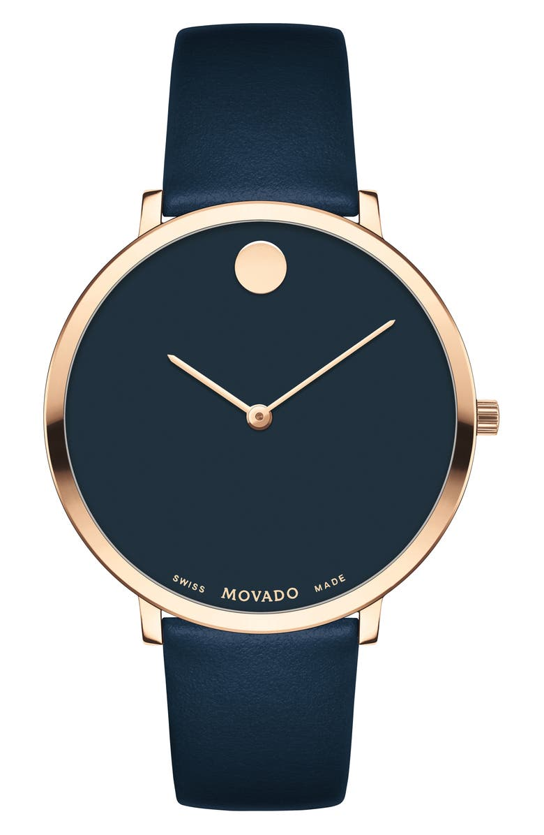 MOVADO Ultra Slim Special Edition Leather Strap Watch, 35mm, Main, color, NAVY/ CARNATION GOLD