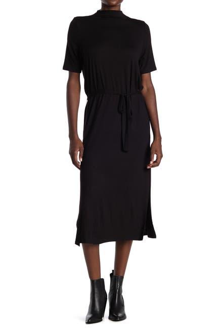 Image of Velvet Torch Mock Neck Tie Waist Midi Dress