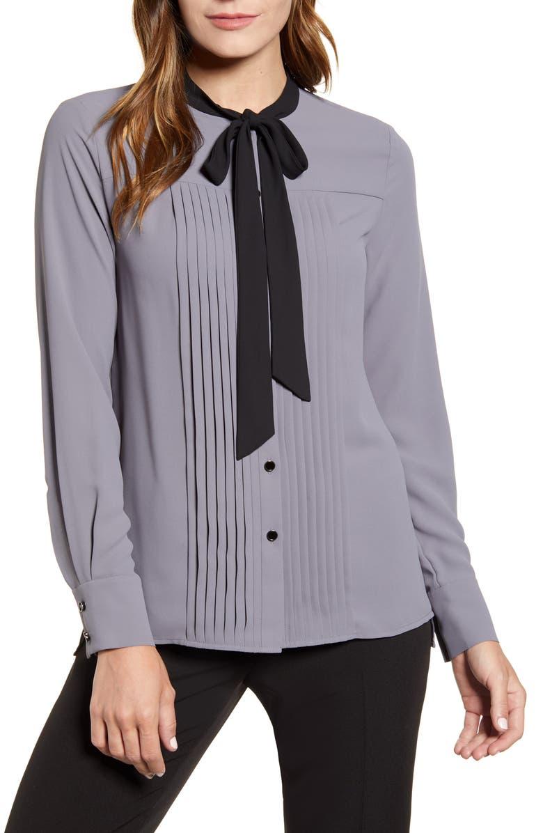 ANNE KLEIN Tie Neck Blouse, Main, color, 021
