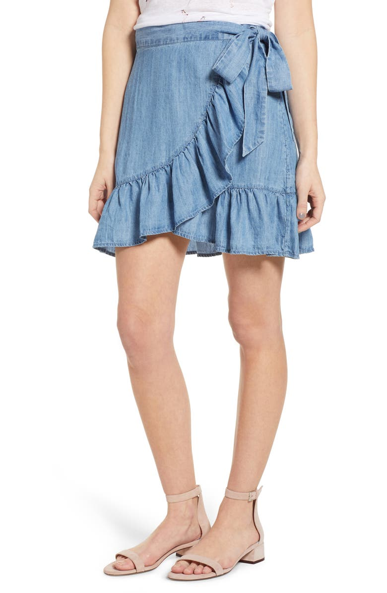 RAILS Etienne Chambray Wrap Skirt, Main, color, MEDIUM VINTAGE