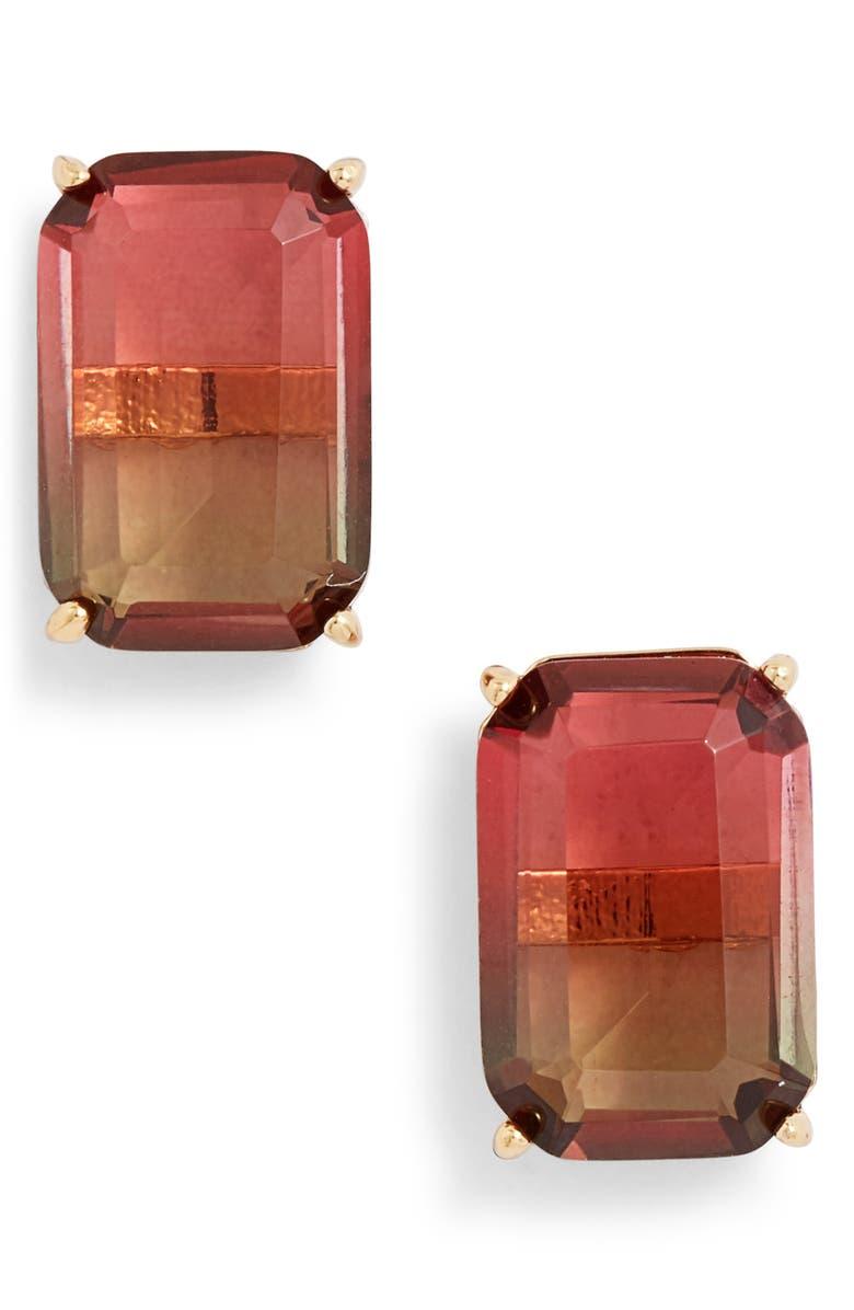 KATE SPADE NEW YORK geo gems stud earrings, Main, color, PINK MULTI