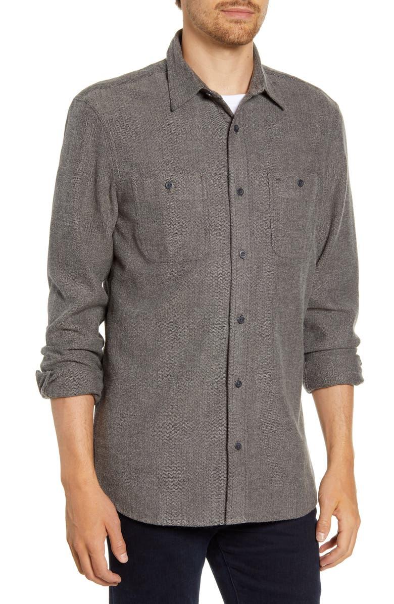 NORDSTROM MEN'S SHOP Regular Fit Herringbone Button-Up Shirt, Main, color, GREY BLACK HERRINGBONE