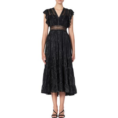 Sandro Dona Metallic Stripe & Lace Detail Midi Dress, US / 40 FR - Black