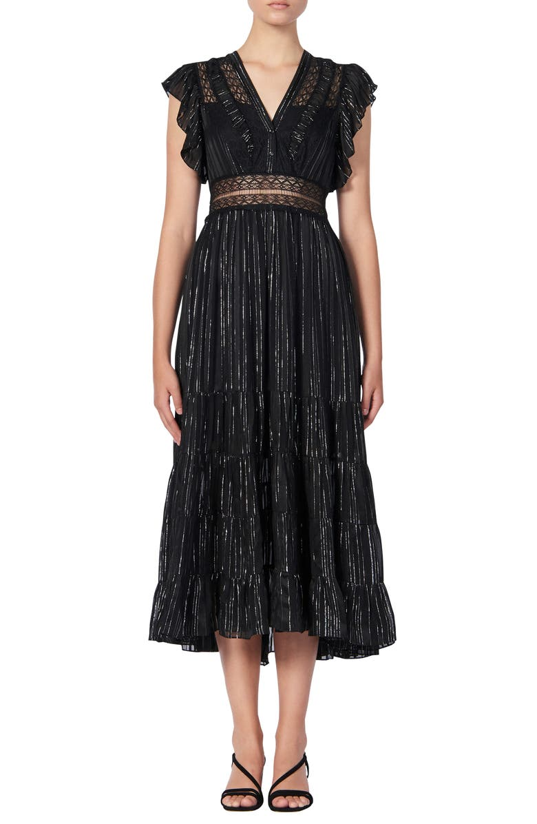 SANDRO Dona Metallic Stripe & Lace Detail Midi Dress, Main, color, 001