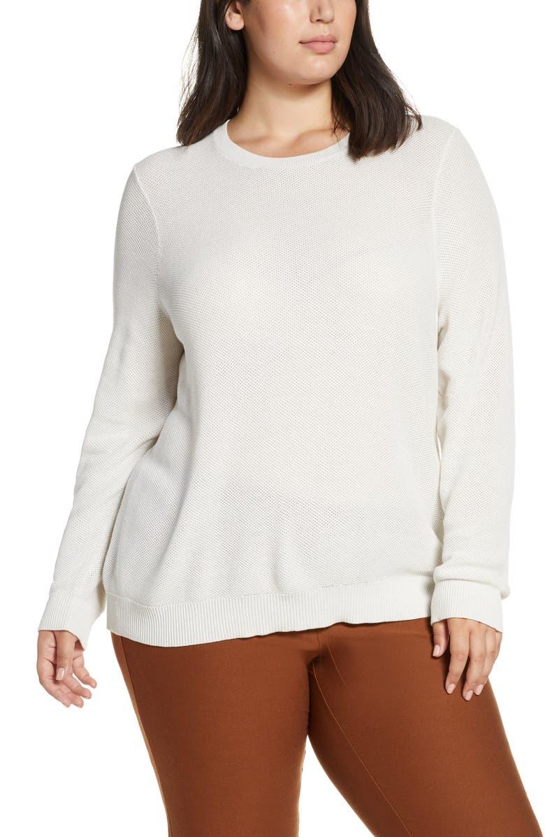 EILEEN FISHER Open Knit Sweater, Main, color, BONE