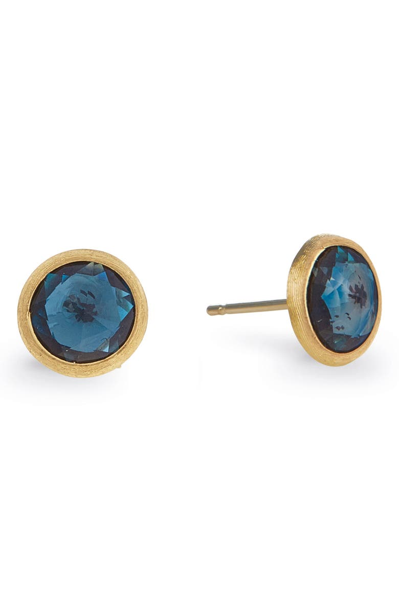 MARCO BICEGO 'Jaipur' Stone Stud Earrings, Main, color, YELLOW GOLD/ BLUE TOPAZ