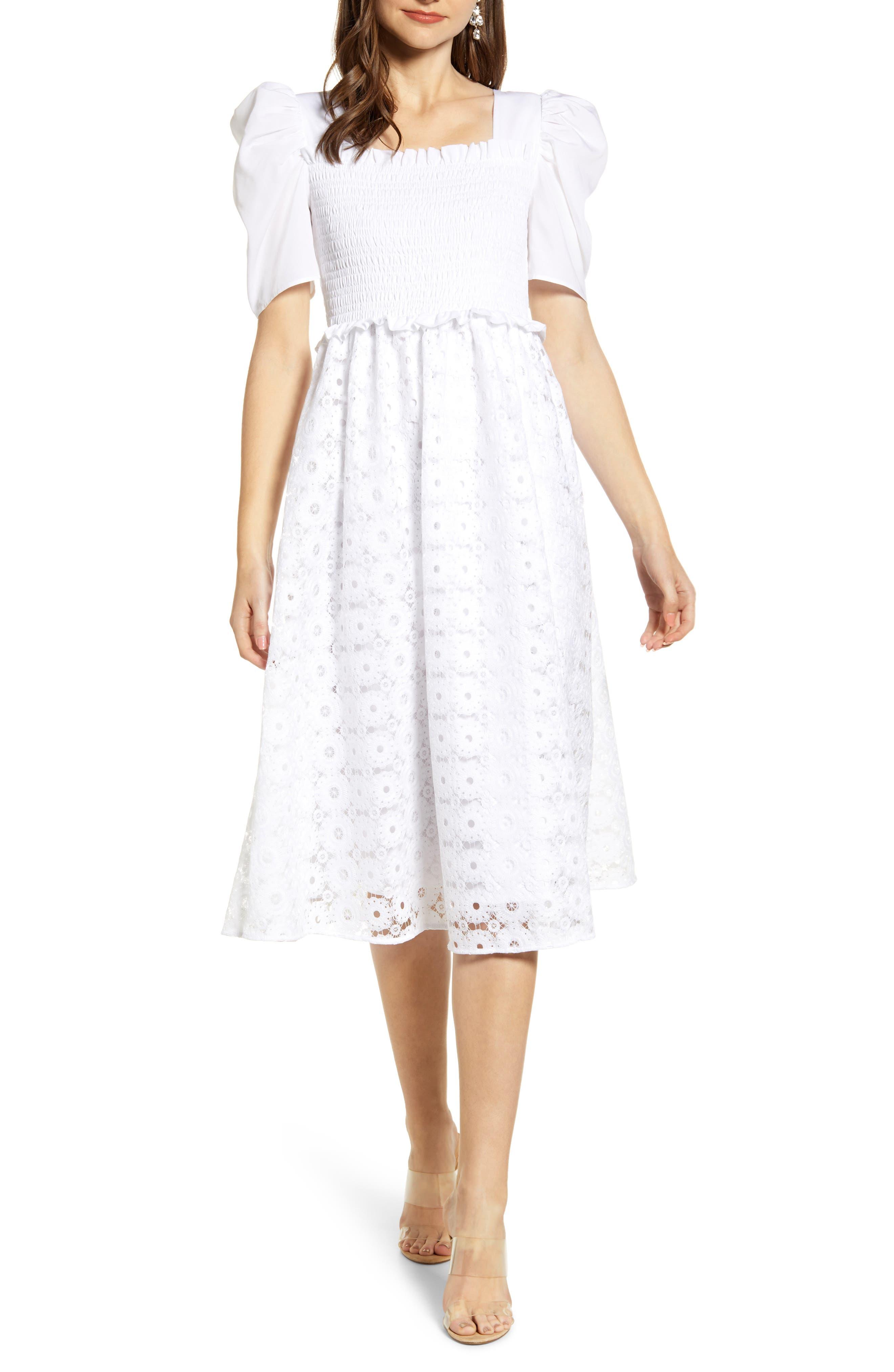 ,                             Smocked Waist A-Line Dress,                             Main thumbnail 1, color,                             WHITE