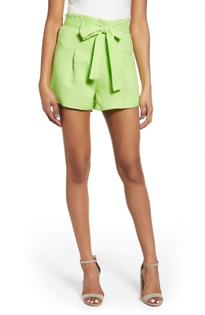 J.O.A. Paperbag Tie Waist Cotton & Linen Shorts, Main, color, 300