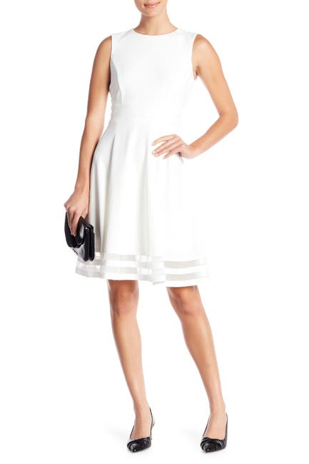 Image of Calvin Klein Illusion Stripe Fit & Flare Dress