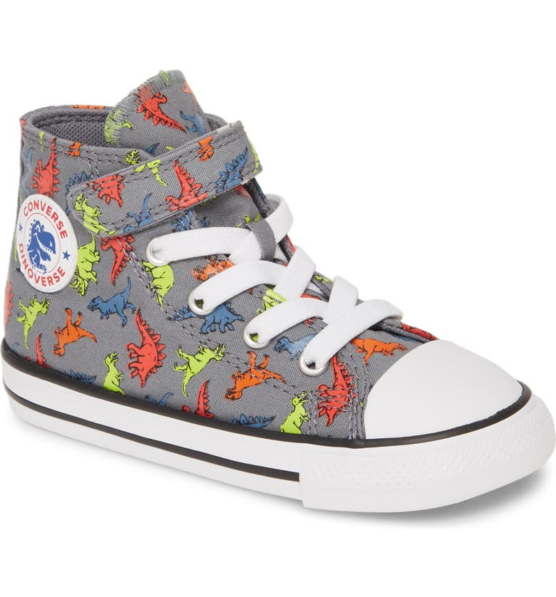 CONVERSE Chuck Taylor<sup>®</sup> All Star<sup>®</sup> Dinoverse High Top Sneaker, Main, color, COOL GREY/ BLACK/ WHITE