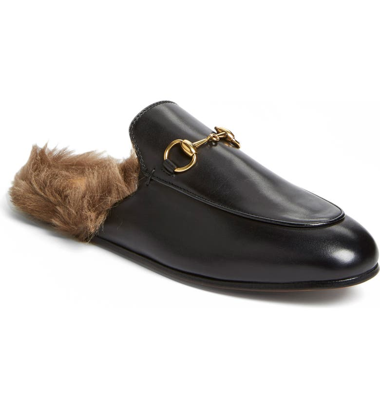 GUCCI Princetown Genuine Shearling Loafer Mule, Main, color, BLACK